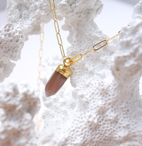 Brown moonstone earth support necklace