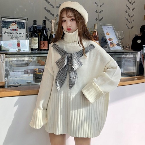 【トップス】秋冬ファッションリボンハイネックチェック柄ニットセーター