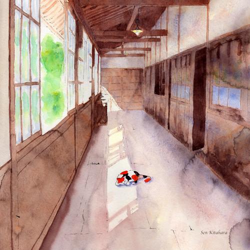絵画 インテリア アートパネル 雑貨 壁掛け 置物 おしゃれ 水彩画 創作 猫 ネコ ねこ 動物 ロココロ 画家 : 北原 千 作品 : 廊下と猫