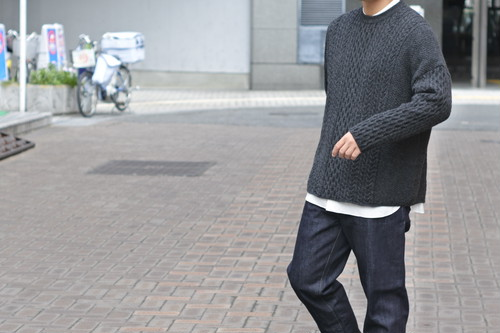 【ORDINARY FITS】CABLE KNIT col.GRY