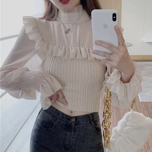 frill tulle tops 2color