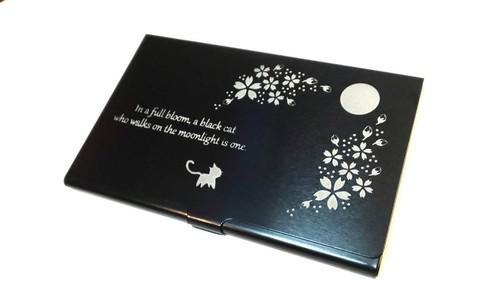 【国産】アルミニウム名刺入れミラー付き『桜月猫』