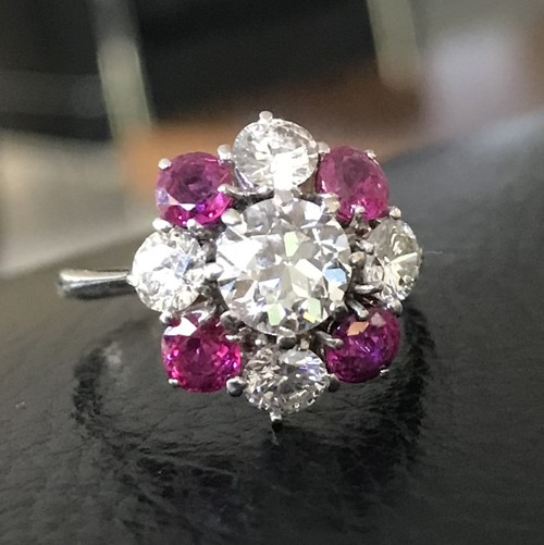 Old European cut Diamond &Ruby Cluster Ring