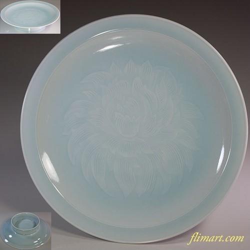快山窯青白磁高足牡丹七寸半皿W5979