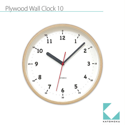KATOMOKU plywood wall clock 10 km-76NRC 電波時計
