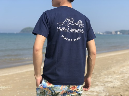 SUNSET & BEACH Tシャツ(navy)