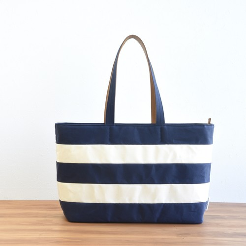 WIDE BORDER TOTE FL / NAVY(Long handle)