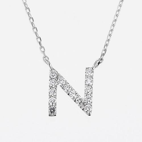 Initial K18WG Diamond【N】Pendant Necklace (ダイヤモンド イニシャル【N】ペンダントネックレス)