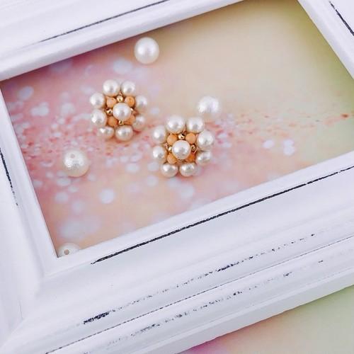 【Sako Yamada×CORALIA】 CP-flower-B-S ピアス 直結 ピンク珊瑚
