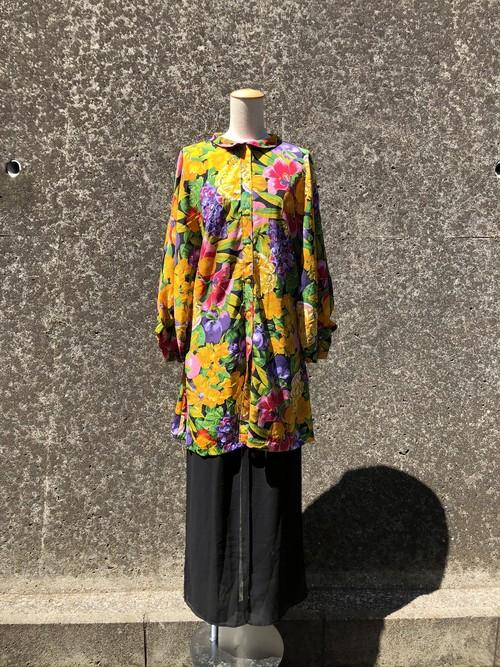 fruits & flower printed big shirt