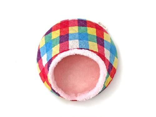 ハリちゃんのおやすみベッド(冬用) カラフルチェックA / Hedgehog bed for winter