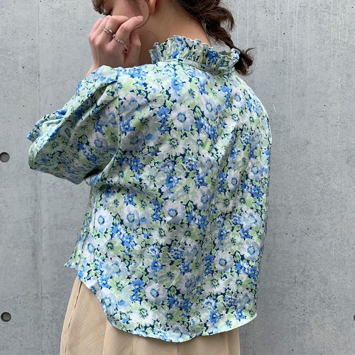 (LOOK) flower stand collar blouse
