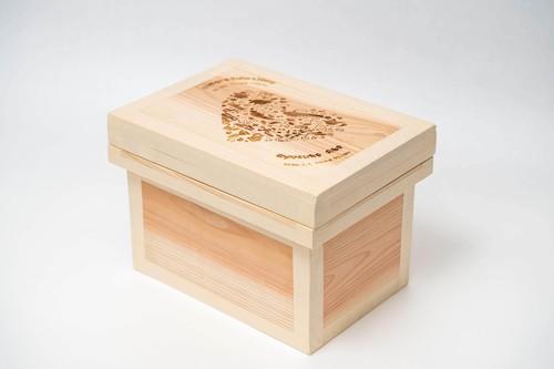 出産祝いレーザー茶箱-1k(名入れ可能)