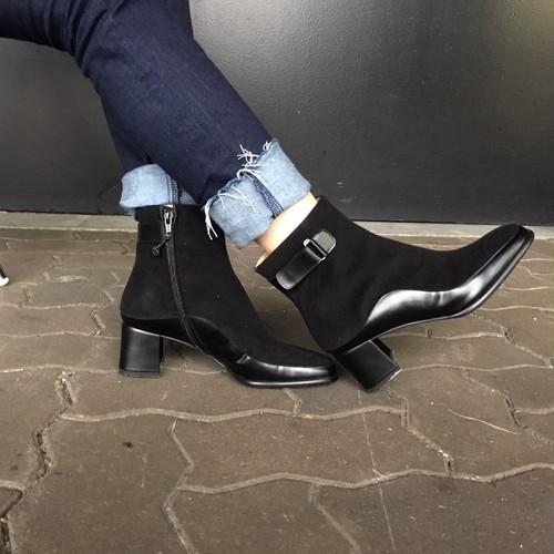 Salvatore Ferragamo/サルヴァトーレフェラガモ スエード×レザー ショートブーツ ブラック(R14123)