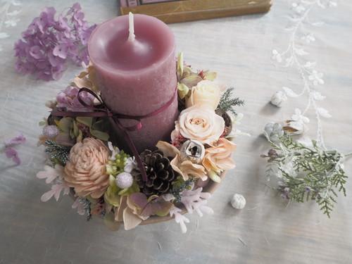 Vieux rose*器付き*クリスマスキャンドルリース*キャンドルアレンジメント*プリザーブドフラワー *花*ギフト*冬の贈りもの*2018
