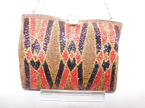 茶&赤色ビーズビィンテージバック brown&red color bead vintage bag(made in Japan)(No71)