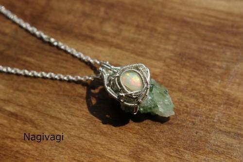Tourmalineinquartz & whiteopal silver925 wirewrapping pendant