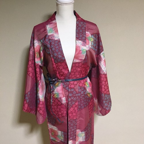 Vintage HAORI Silk Wine Red × fine flower ×Shrimp to the liner【HA07】