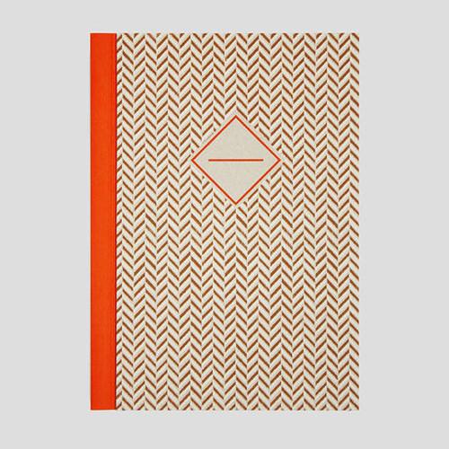 ハンドメイドのノート ヘリンボーン(オレンジ)・中サイズ