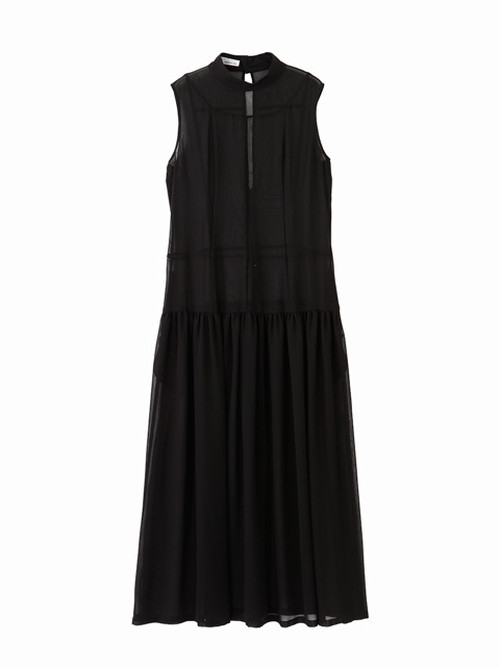 High neck collar switched dress / black / S16DR03
