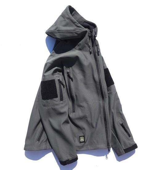 """USA製 [TAD GEAR] """"Stealth Hoodie"""" シャークスキンソフトシェルジャケット グレー 表記(MEDIUM) Triple Aught Design タッドギア ステルスフーディー"""