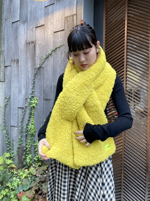 【20AW】OOF オーフ / Scarf 3007 in yellow curly pile faux fur