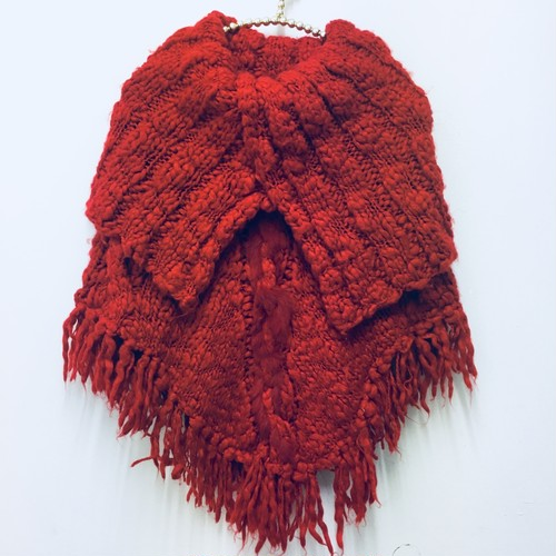 red knit poncho