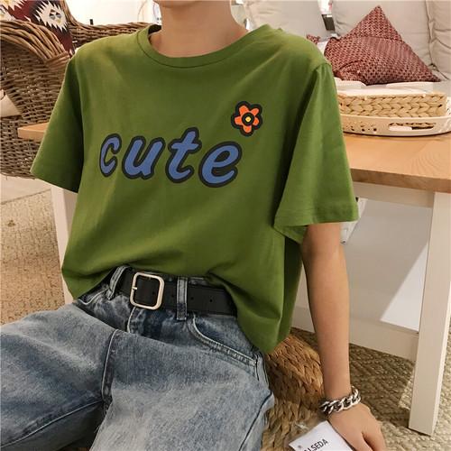 可愛い オシャレ カジュアル ラウンドネック 半袖 カラーブロック 人気 普段着 Tシャツ・トップス
