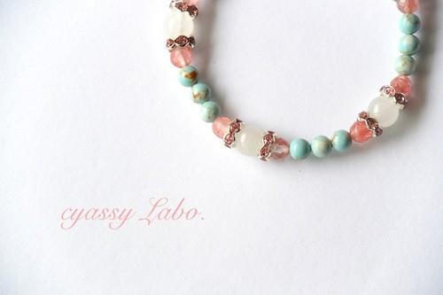 rizo rosado~トルコ石とチェリークォーツのブレス~