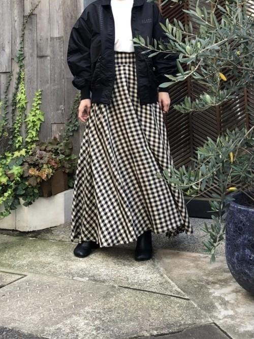 【20AW】TRENT トラント / Check pattern Flare Skirt