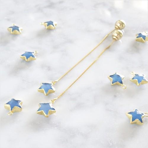 送料無料14kgf*Blue Chalcedony STAR american pierced earring