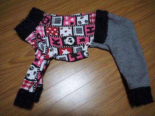 モデル着用品MS:ヘリンボーンパンツロンパ(ピンク系)