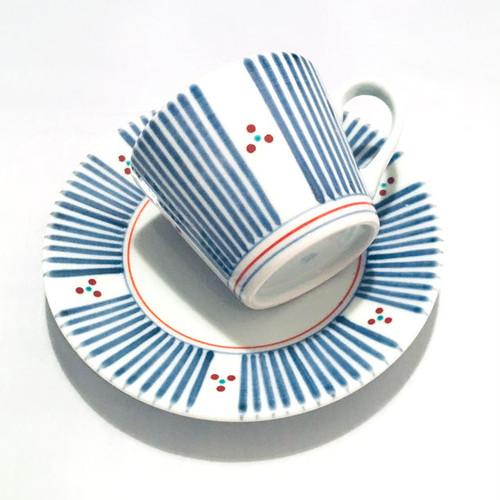 【砥部焼/梅山窯】コーヒー碗皿・蕎麦猪口型(三つ紋)