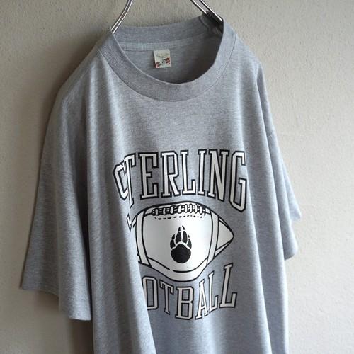 1980's USA製 [SCREEN STARS] フットボール3段プリント Tシャツ 杢グレー 表記(XL)