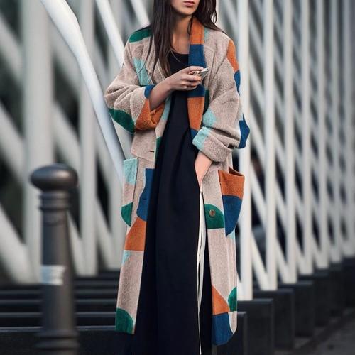 【アウター】早いもの勝ちファッション配色シングルブレストロング折り襟チェスターコート23518014