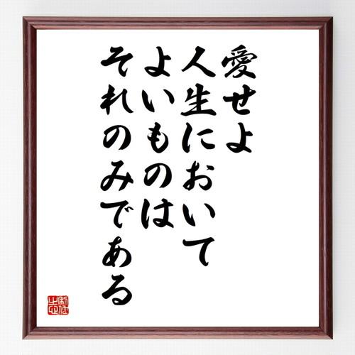 ジョルジュ・サンドの名言書道色紙『愛せよ、人生においてよいものはそれのみである』額付き/受注後直筆(千言堂)Z1689
