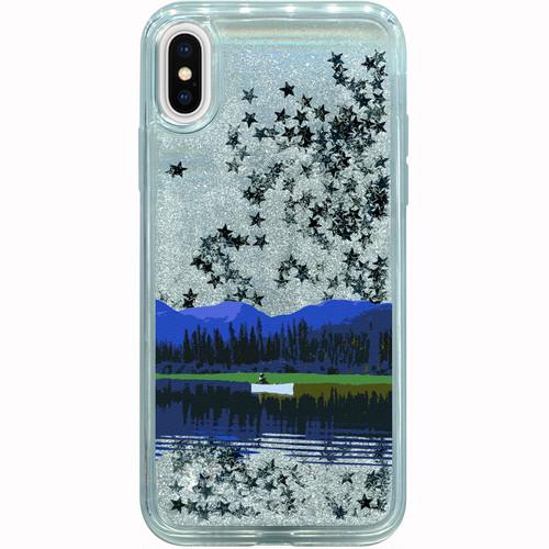 iPhone用グリッターケース カナダ・ユーコン川 シルバースター