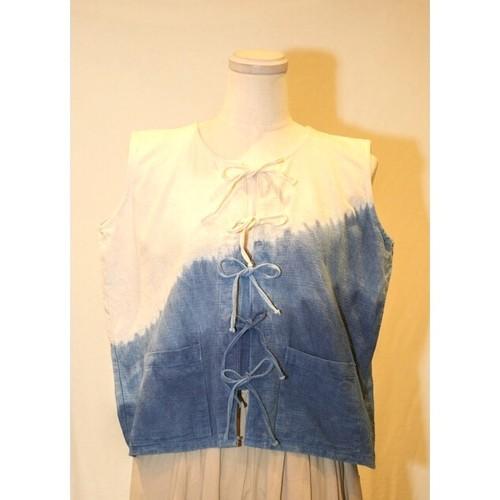 Ladies' / Tie dye no sleeves shirt with ribbon