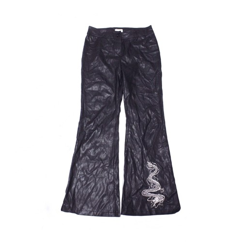 Fake leather dragon embroidery pants