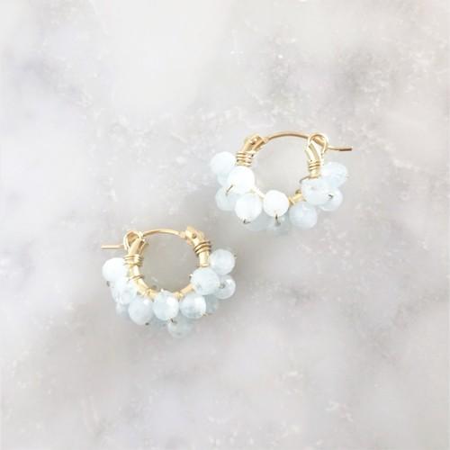 送料無料14kgf*Aquamarine pavé earring / pierced earring
