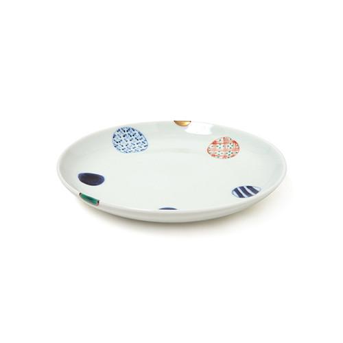 染錦地紋丸紋5.5寸丸皿