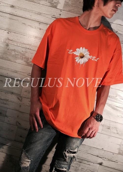 【メール便対応】 REGULUS NOVE DAISYプリントメッセージBIGTシャツ ORANGE ユニセックス レディース メンズ オーバーサイズ 大きいサイズ 派手 韓国 プリント 個性的 ストリート ロック