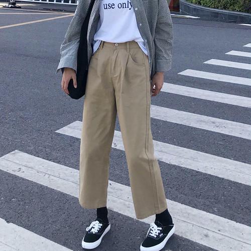 【送料無料】 こなれパンツ♡ ストレート ボーイフレンド パンツ チノ アンクル丈 カジュアル ハイウエスト