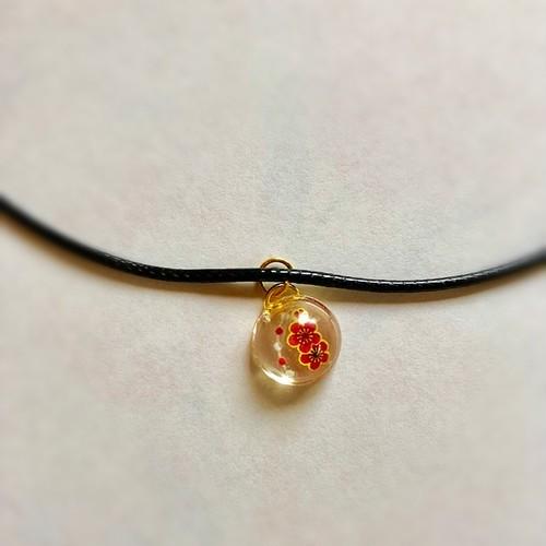 和風チョーカーネックレス 赤い梅の花と紅白 Japanese style choker necklace Red plum flowers