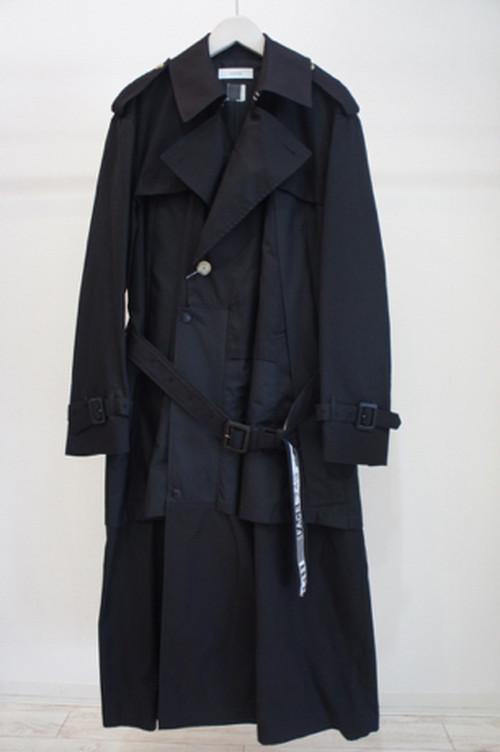 LAYERED TRENCH COAT  BLACK  / FACETASM