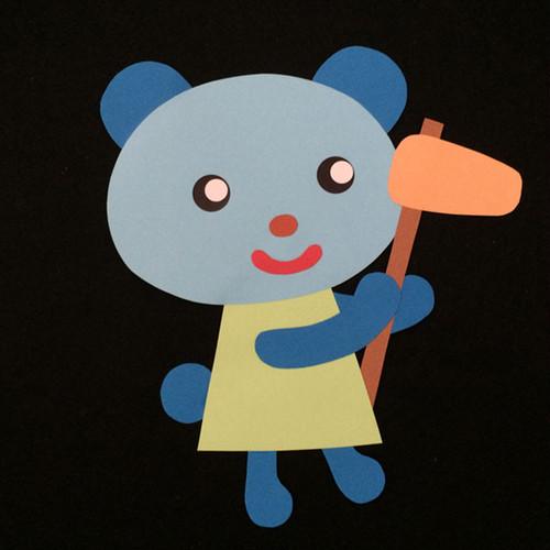 もちつきをするクマの壁面装飾