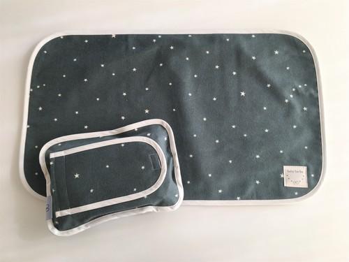 おむつ替えシートと布製のおしりふきケースお揃いセット・グレー星柄