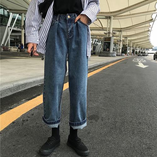 【ボトムス】レトロルーズ着瘦せカジュアルハイウエストカジュアルパンツ