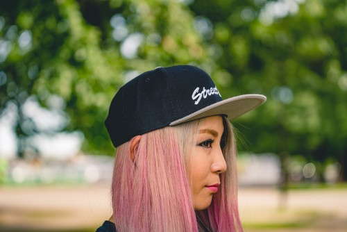 【送料無料】Flat Visor Cap [Black/Gray] Leaves - StreetChic