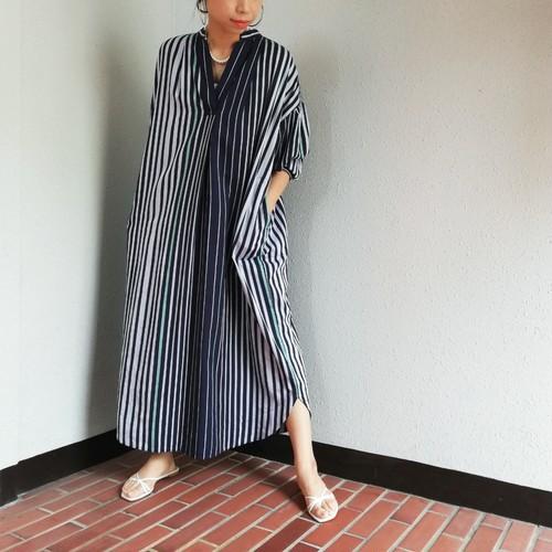 ne Quittez pas(Poplin Stripe Stand Collar Dress)